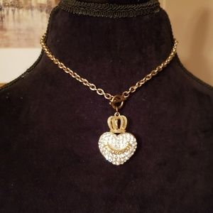 JUICY COUTURE Gold Pave Heart & crown necklace